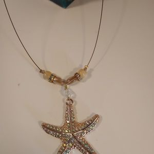 Beautiful gold and clear crystal starfish necklace